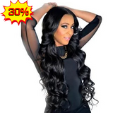 Lakihair Glueless 8A Brazilian Virgin Hair Body Wave Lace Front Human Hair Wig Natural Black Color