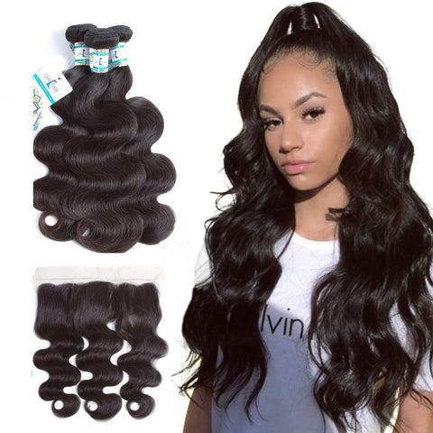 Lakihair 10A Brazilian Body Wave Virgin Hair 3 Pieces With Lace Frontal Closure Pre Plucked 13x4