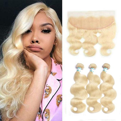 Lakihair 8A 613 Blonde Brazilian Hair Body Wave 3 Bundles With 13x4 Ear To Ear Lace Frontal Closure