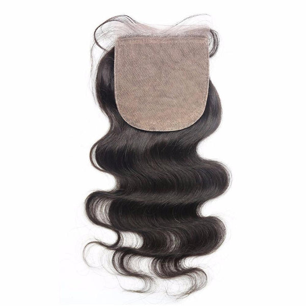 Lakihair Silk Base Closure Brazilian Body Wave Human Hair Swiss Lace with Bleached Knots 4x4