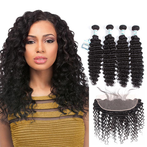 Lakihair 8A Peruvian Virgin Human Deep Wave Hair 4 Bundles With 13x4 Frontal Closure