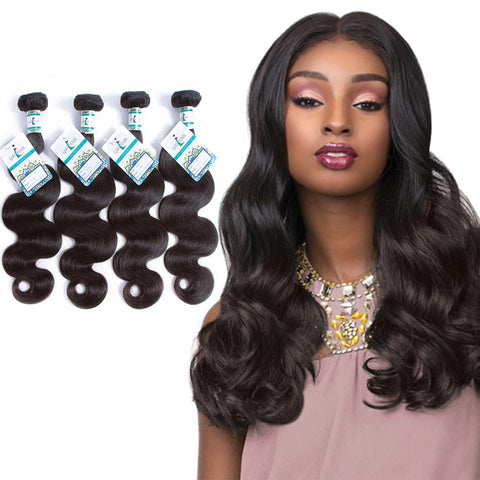 Lakihair 8A Virgin Human Hair Body Wave 4 Bundles Hair Extensions
