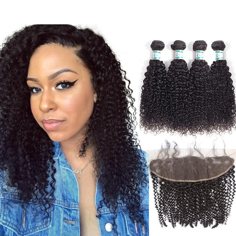 Lakihair Peruvian Hair Bundles With Lace Frontal Closure Kinky Curly Virgin Human Hair 4 Bundles With Lace Frontal
