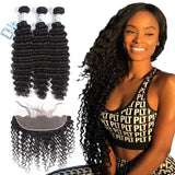 Lakihair Deep Wave Hair Bundles Peruvian Hair 3 Bundles With Frontal Closure