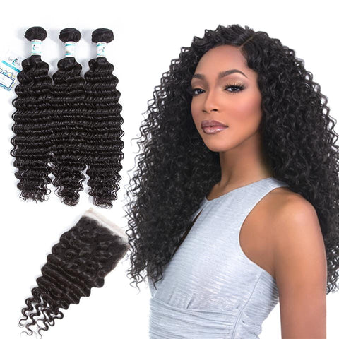 3 Bundles With Lace Closure Lakihair 8A Brazilian Deep Wave Human Hair