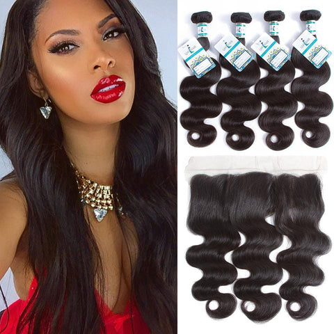 Lakihair Virgin Malaysian Human Hair 3 Bundles With Lace Frontal Closure