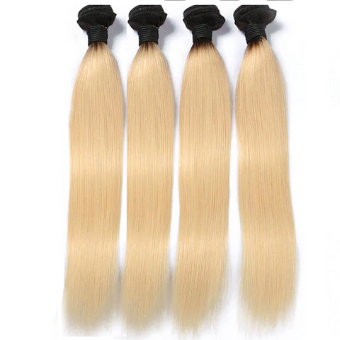 Lakihair 8A Brazilian Straight Bundles 4 Bundles 1B/613 Blonde Ombre Unprocessed Hair