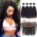 Lakihair Indian Hair Bundles With Lace Frontal Closure Kinky Curly Virgin Human Hair 4 Bundles With Lace Frontal