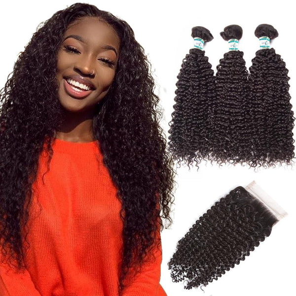 Lakihair Virgin Remy Human Hair Bundles With Closure 3 Bundles With Lace Closure Peruvian Curly Human Hair Weave