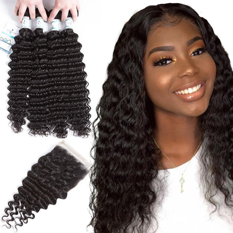 Lakihair Unprocessed Virgin Human Hair Bundles With Lace Frontal Closure Malaysian Deep Wave 4 Bundles With Closure
