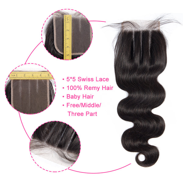 Lakihair 8A Brazilian Body Wave 100% Unprocessed Virgin Human Hair 4 Bundles With Lace Closure 5*5