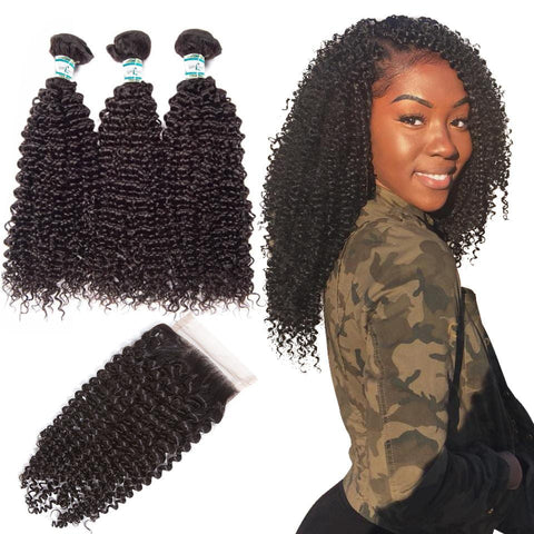 Lakihair 8A Indian Human Hair Kinky Curly 3 Bundles With 4x4 Lace Closure