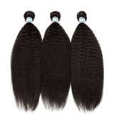 Lakihair 8A Brazilian Kinky Straight Hair Weaving 3 Bundles With Lace Closure 4x4