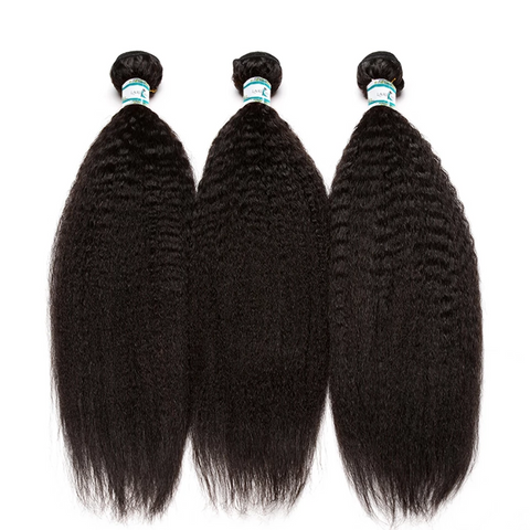 Lakihair 10A Brazilian Kinky Straight Hair 3 Bundles With 13x4 Frontal Pre Plucked With Baby Hair
