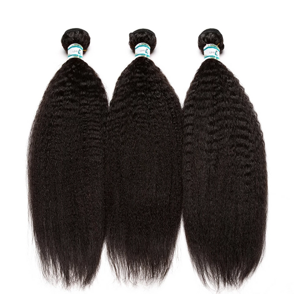 Lakihair 8A Brazilian Kinky Straight Hair 3 Bundles With 13x4 Frontal Pre Plucked With Baby Hair