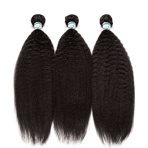 Lakihair 8A Brazilian Hair Kinky Straight 3 Bundles With Lace Closure