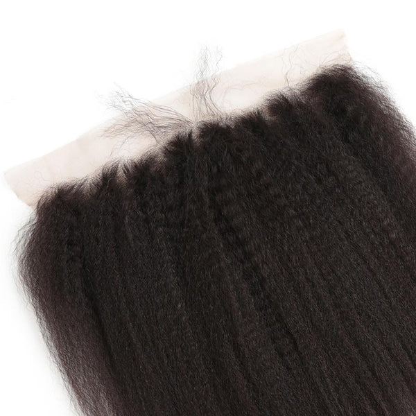Lakihair 10A Kinky Straight Brazilian Virgin Human Hair 4 Bundles With Lace Frontal Closure