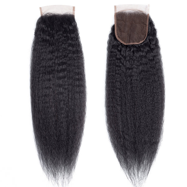 Lakihair 8A Brazilian Unprocessed Virgin Human Hair Kinky Straight 4 Bundles With Lace Closure 4x4