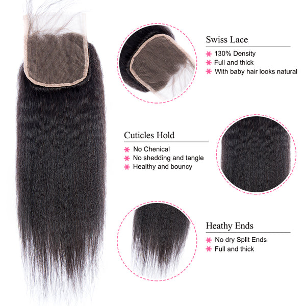 Lakihair 10A Brazilian Kinky Straight Hair Weaving 3 Bundles With Lace Closure 4x4