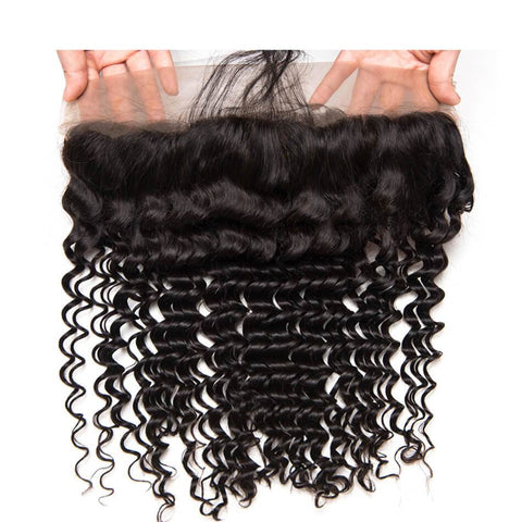Lakihair 10A Deep Wave Ear To Ear 13X4 Lace Frontal Closure Virgin Hair Pre Plucked