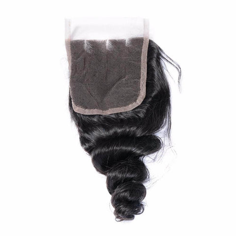 Lakihair 10A Brazilian Virgin Human Hair Loose Wave Lace Closure 4x4 Natural Black