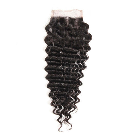 Lakihair 10A Brazilian Virgin Human Hair Lace Closure 4x4 Deep Wave With Baby Hair