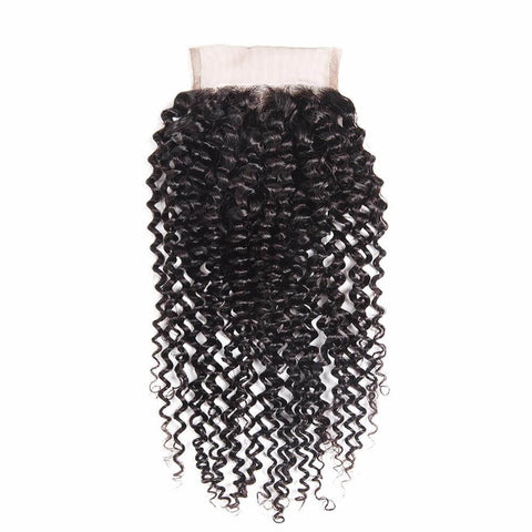 Lakihair 10A Brazilian Kinky Curly Virgin Human Hair Lace Closure 4x4 Pre Plucked Hairline