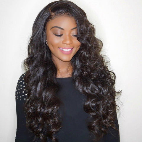 Lakihair 10A Loose Wave Virgin Human Hair Brazilian 4 Bundles With Lace Frontal Closure 13x4
