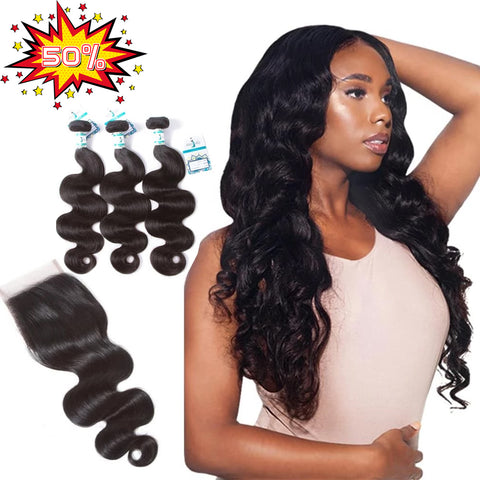 Lakihair Easter Big Sale 50% OFF 8A Body Wave 3 Bundles with Lace Closure 4x4