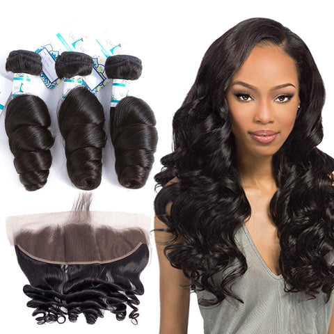 Lakihair Loose Wave Hair Bundles Peruvian Frontal With 3 Bundles Human Hair