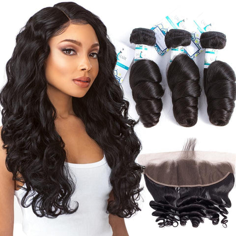 Lakihair Real Indian Human Hair Loose Wave 3 Bundles With Lace Frontal Closure