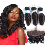 Lakihair Real Malaysian Human Hair Extensions Loose Wave With Lace Frontal Closure
