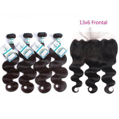 Lakihair 8A Brazilian Virgin Human Hair Body Wave 4 Bundles With Lace Frontal 13x6