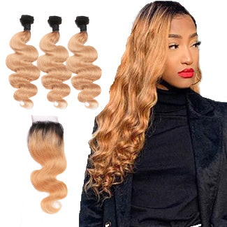 Lakihair Ombre 1B 27 Hair Body Wave 3 Bundles With Lace Closure Brazilian Virgin Human Hair