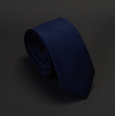 Classic Formal Solid Skinny Tie - Navy Blue