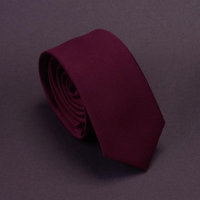 Classic Formal Solid Skinny Tie - Burgundy