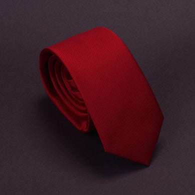 Classic Formal Solid Skinny Tie - Red