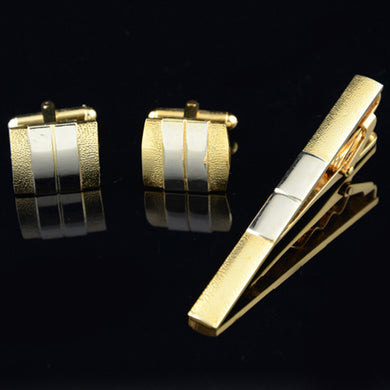 Gold and Silver Cufflinks and Tie Bar Set