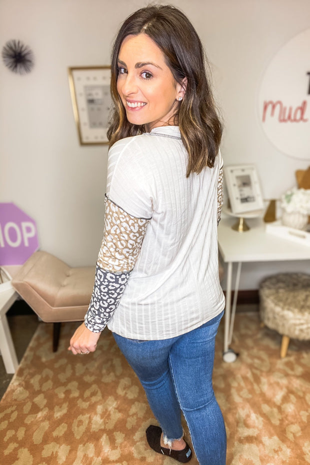 Feral Hearts White and Leopard Sleeve Top - Shop Juni