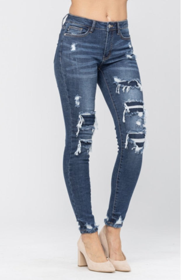 Judy Blue Patched Skinnies - Shop Juni