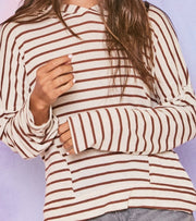 Long Sleeve Striped Knit Hoodie with Pockets - Shop Juni
