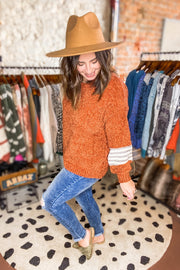 MIRACLE RUST STRIPE SLEEVE SWEATER - Shop Juni
