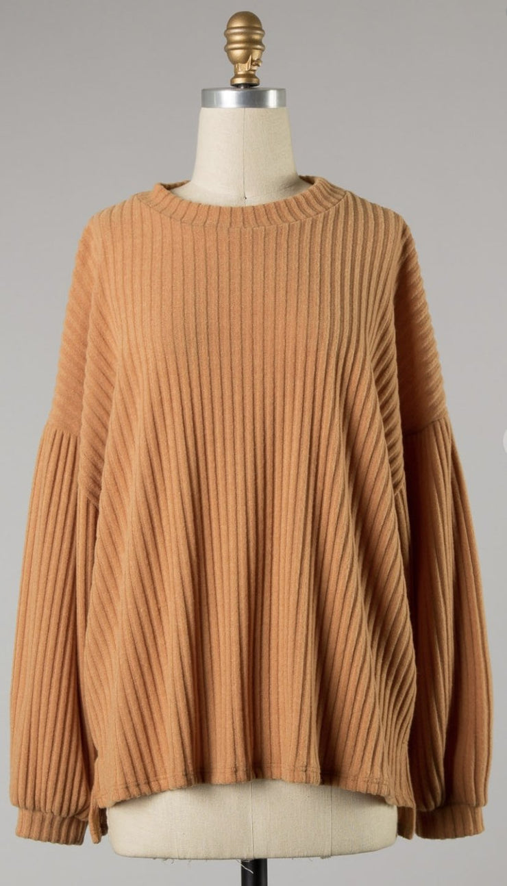 MUSTARD RIB KNIT TOP - Shop Juni