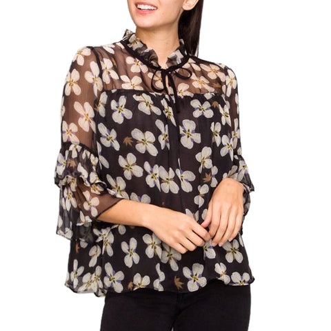 Glam Black White Purple Floral Flower Print Tie Neck Ruffle Sleeve Sheer Blouse Top Savvy Chic Boutique Cleveland Ohio