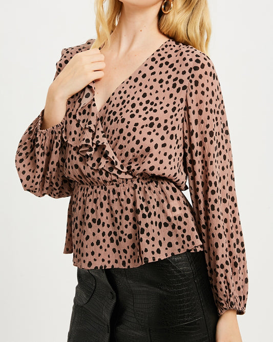 Mauve Black Polka Dot Print Ruffle Surplice Long Sleeve Top Blouse Savvy Chic Boutique Cleveland Ohio