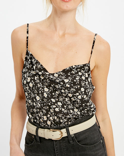 Black White Ditsy Floral Print Camisole Tank Top Savvy Chic Boutique Cleveland Ohio