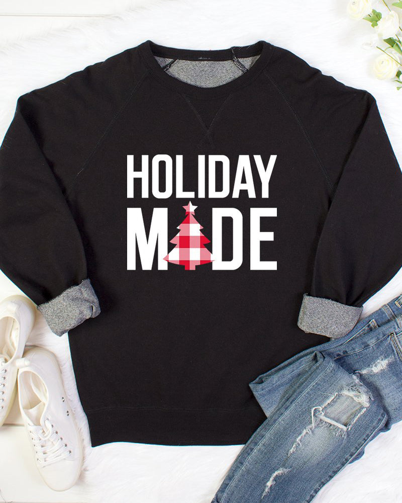 Black Holiday Mode Graphic Top Sweatshirt Christmas Gift Savvy Chic Boutique Cleveland Ohio