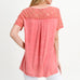 Jodifl Peach Coral Washed Lace Sleeve Tee Top Savvy Chic Boutique Cleveland Ohio