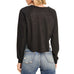 Le Lis Black Happy Graphic Faux Suede Baseball Sweatshirt Top Savvy Chic Boutique Cleveland Ohio