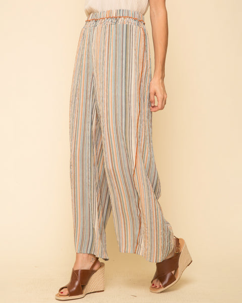 Rainbow Multi Colored Stripe Wide Leg Pant